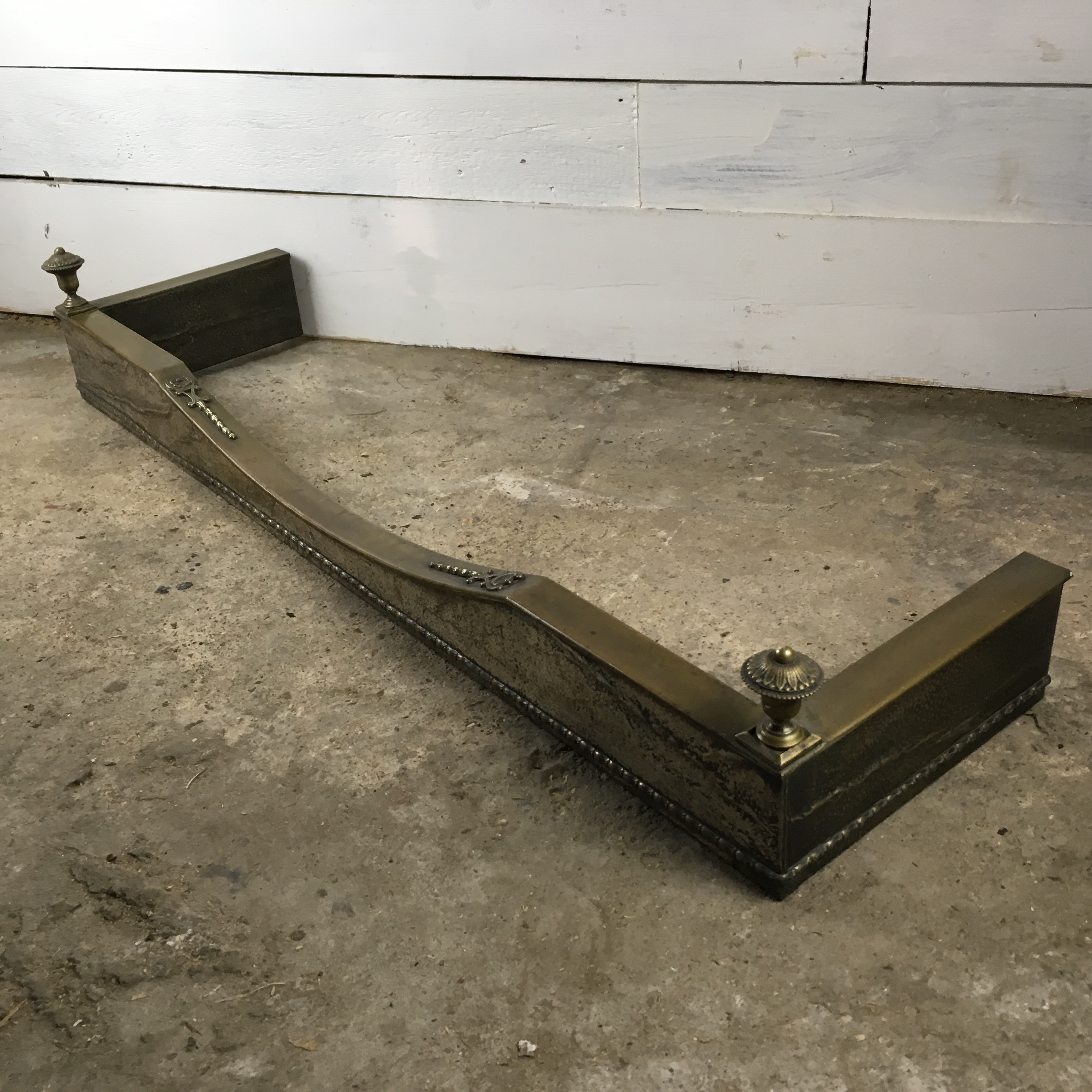 Decorative Victorian Brass Fireplace Fender With Finials Ebay
